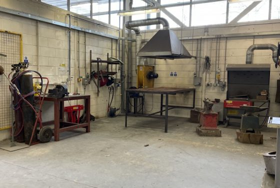 View of Metal Workshop at ESW showing the tools and extraction equipment, with the plasma cutting bench in the centre.