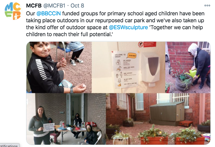 Screenshot of a tweet showing gardening activity in a carpark and a group seated around a table in an outdoor space